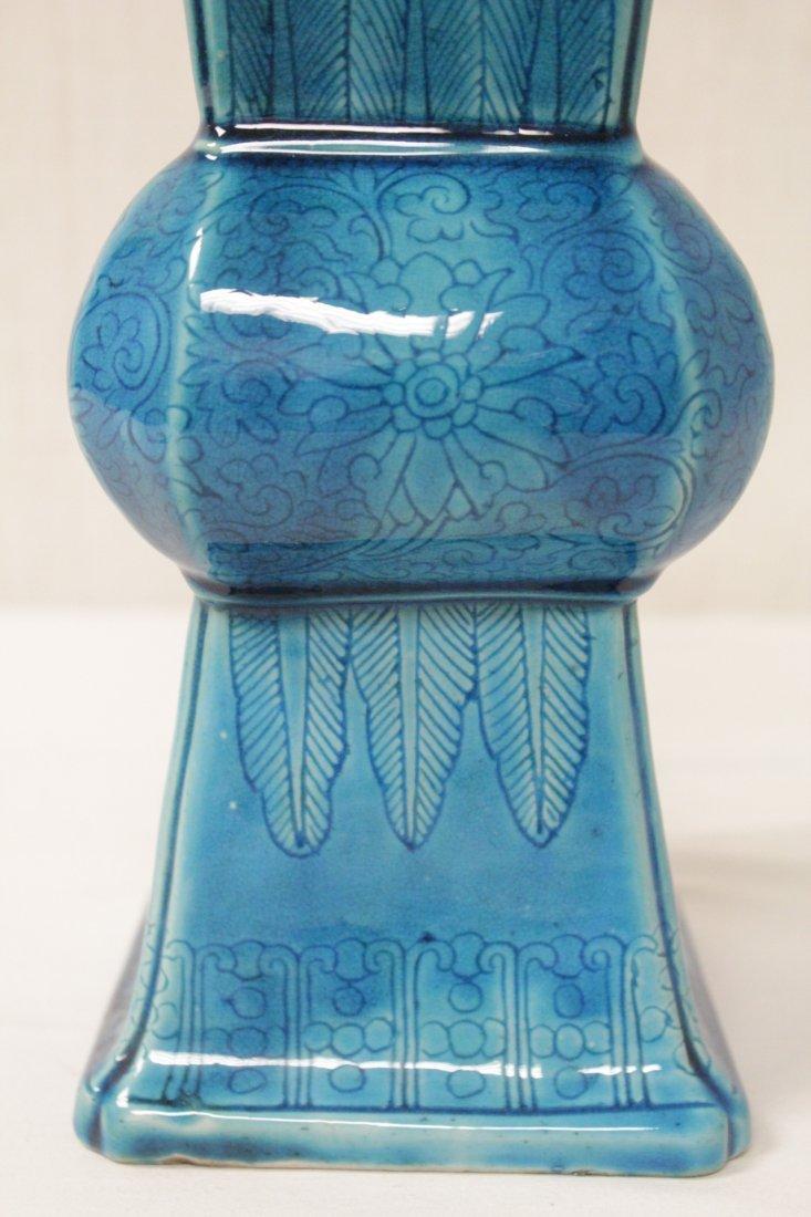 Chinese vintage turquoise glazed porcelain vase - 8