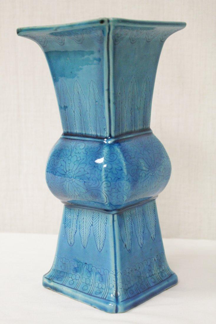 Chinese vintage turquoise glazed porcelain vase - 9