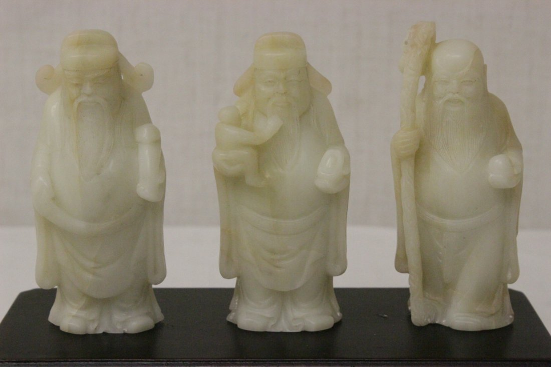 3 Chinese white jade carved immortals - 2