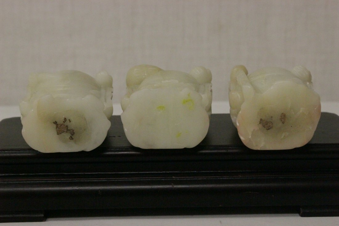 3 Chinese white jade carved immortals - 9