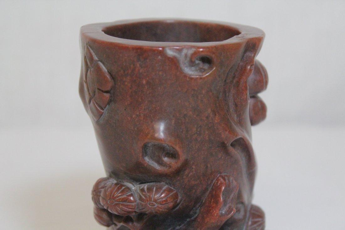 Chinese possible jasper stone carved brush holder - 7