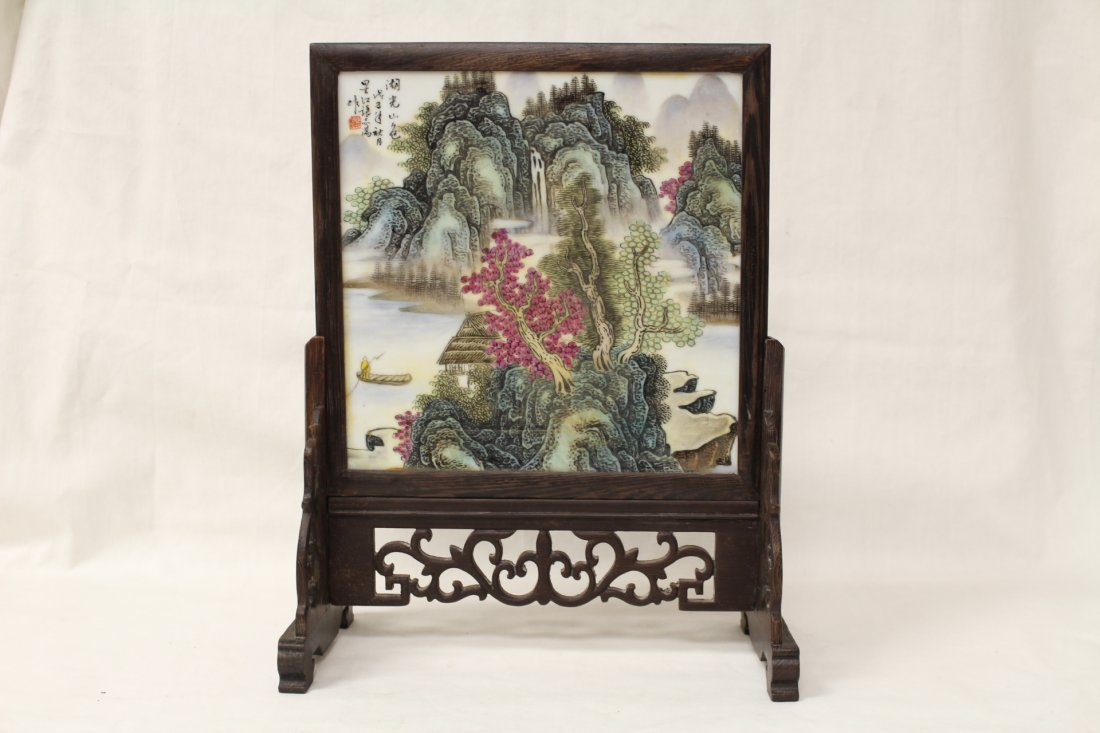 Chinese framed porcelain plaque with stand