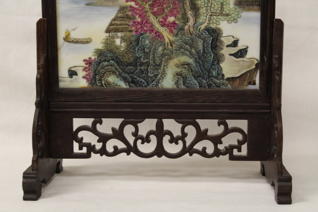Chinese framed porcelain plaque with stand - 2