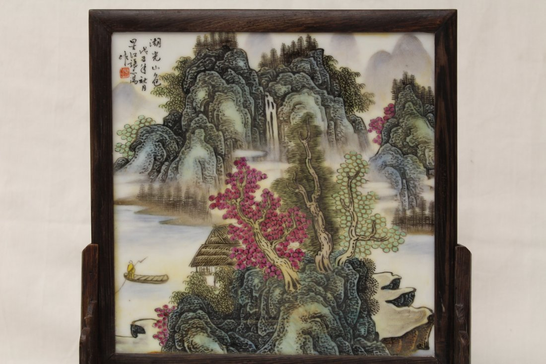 Chinese framed porcelain plaque with stand - 3