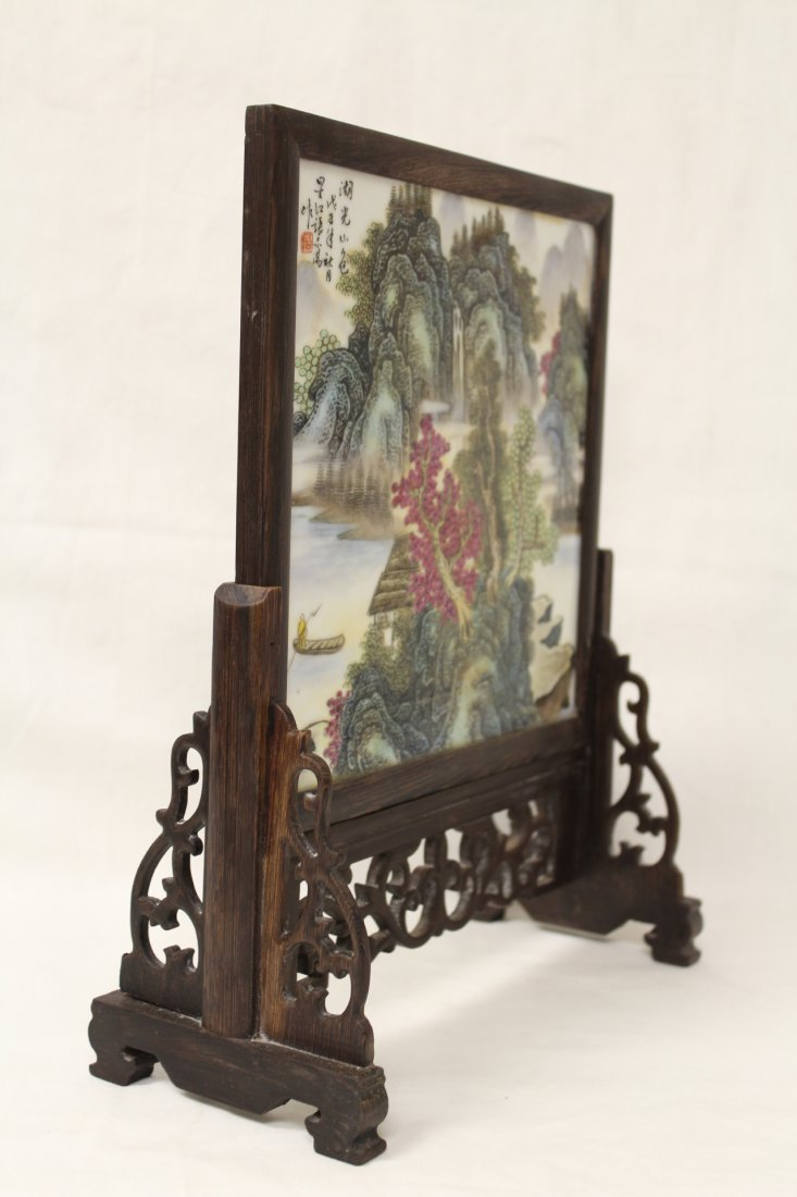 Chinese framed porcelain plaque with stand - 8
