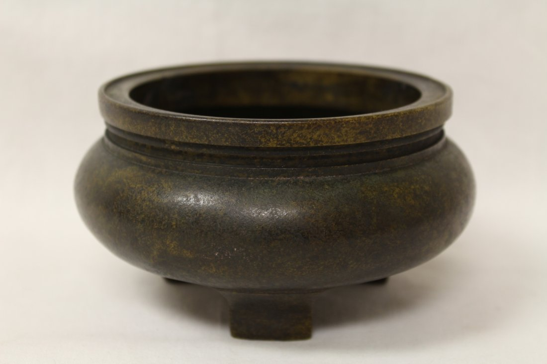 Very heavy Chinese bronze open censer