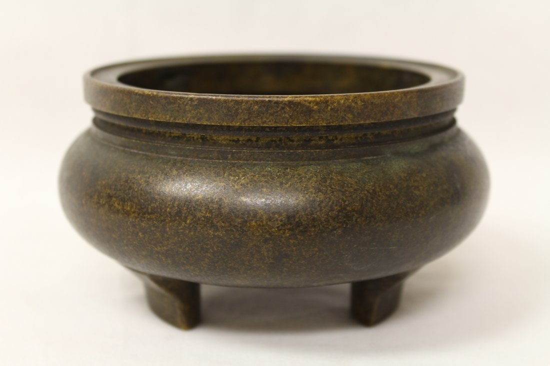 Very heavy Chinese bronze open censer - 4