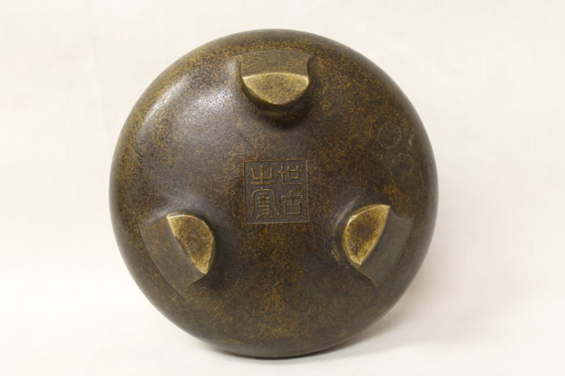 Very heavy Chinese bronze open censer - 7