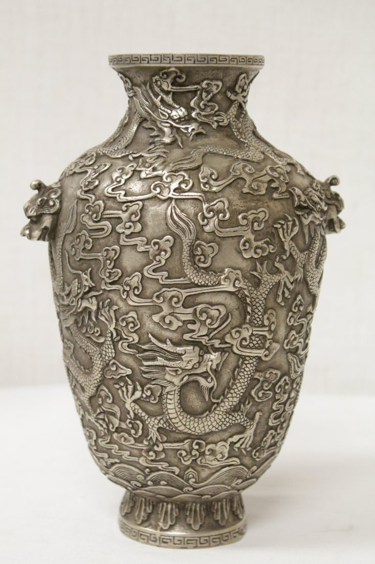 Chinese silver on bronze vase
