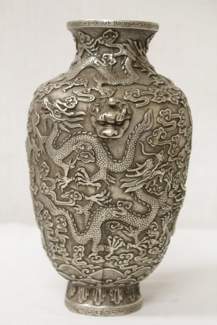 Chinese silver on bronze vase - 2