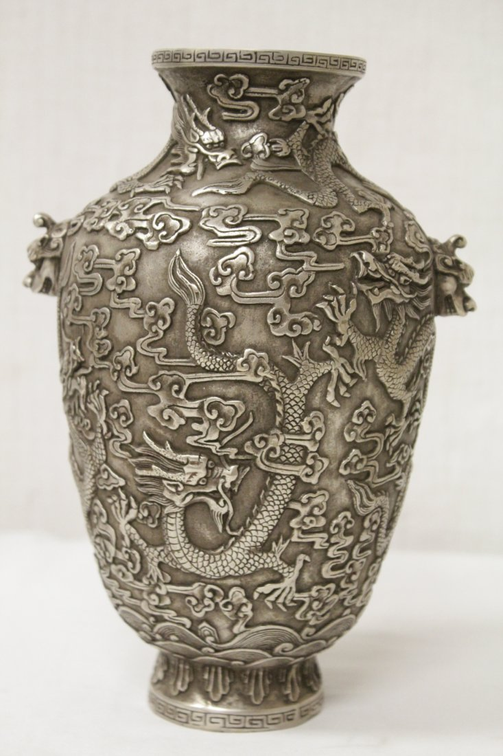 Chinese silver on bronze vase - 3