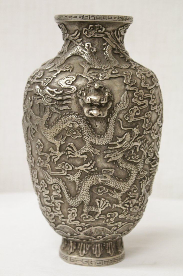 Chinese silver on bronze vase - 4
