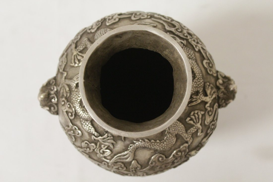 Chinese silver on bronze vase - 5