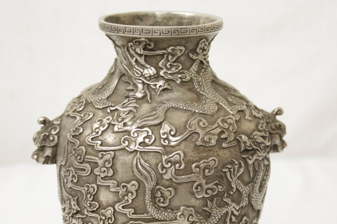 Chinese silver on bronze vase - 6