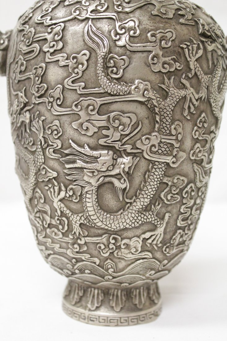 Chinese silver on bronze vase - 7