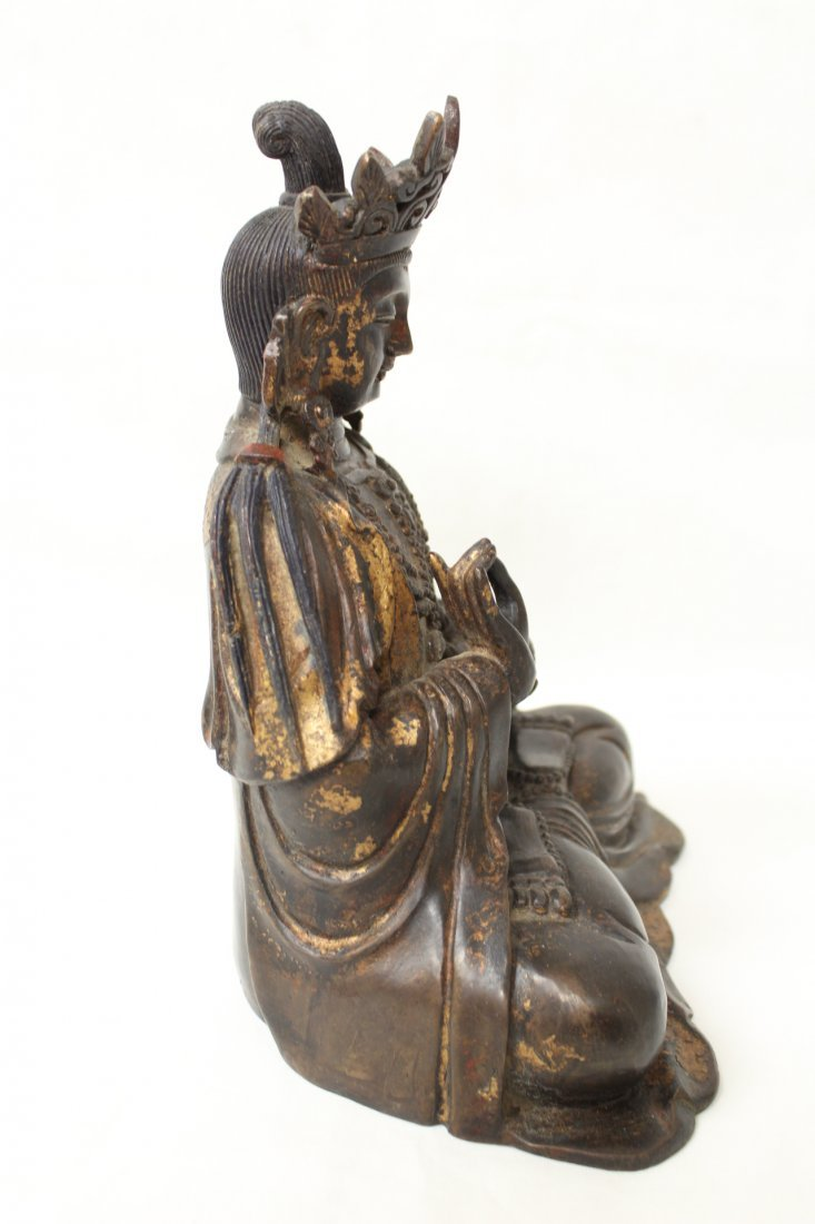 Chinese bronze sculpture of seated Buddha - 7