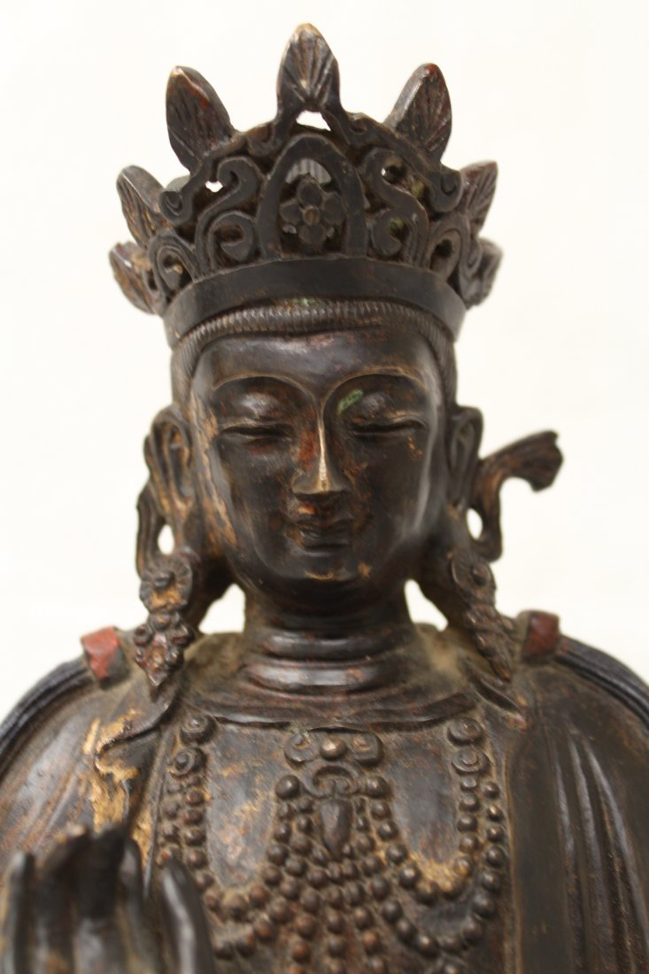 Chinese bronze sculpture of seated Buddha - 8