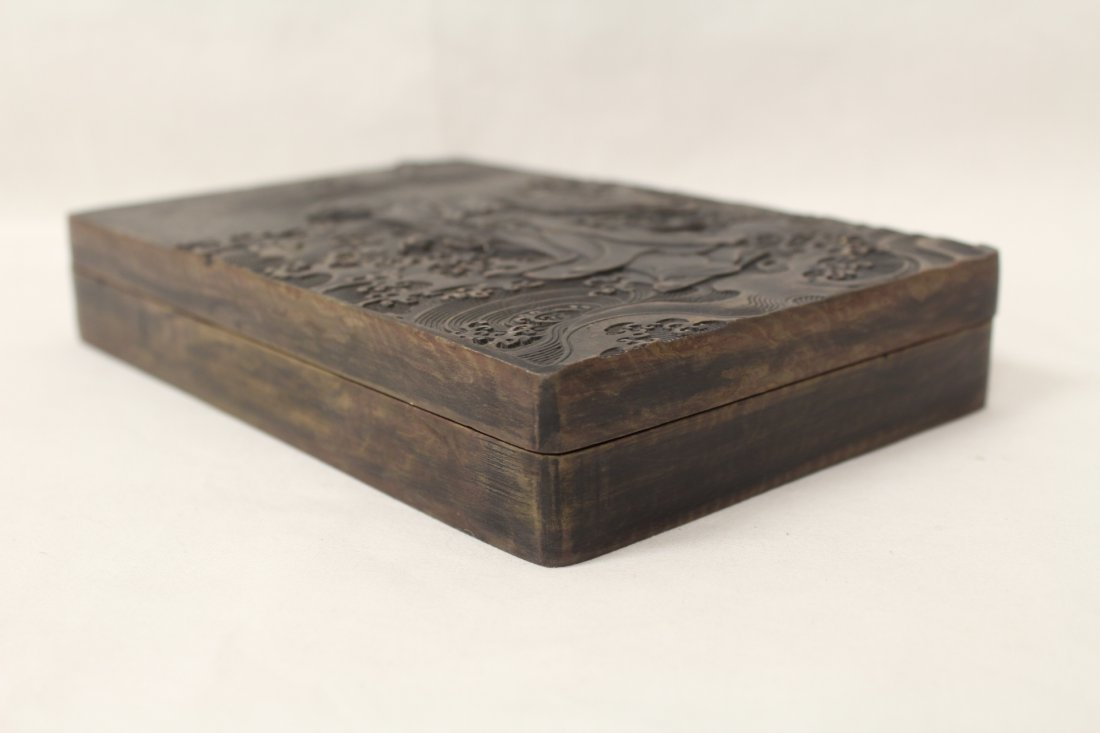 "Chinese stone inkwell with cover, 1.25""Hx7.15""x4.75"" - 9"
