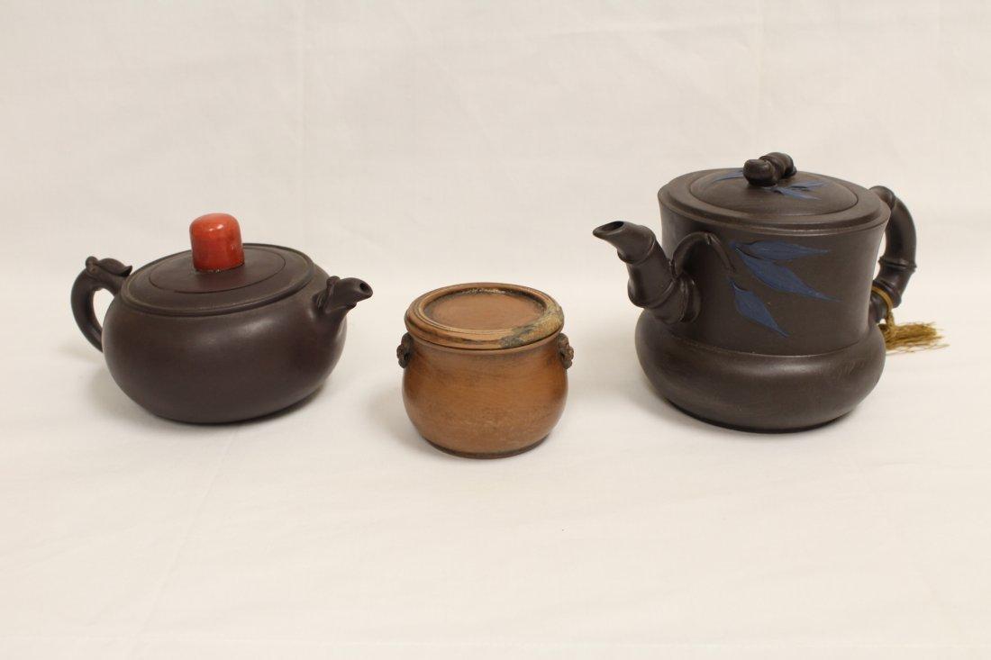 2 Chinese Yixing teapot and a Yixing tea caddy