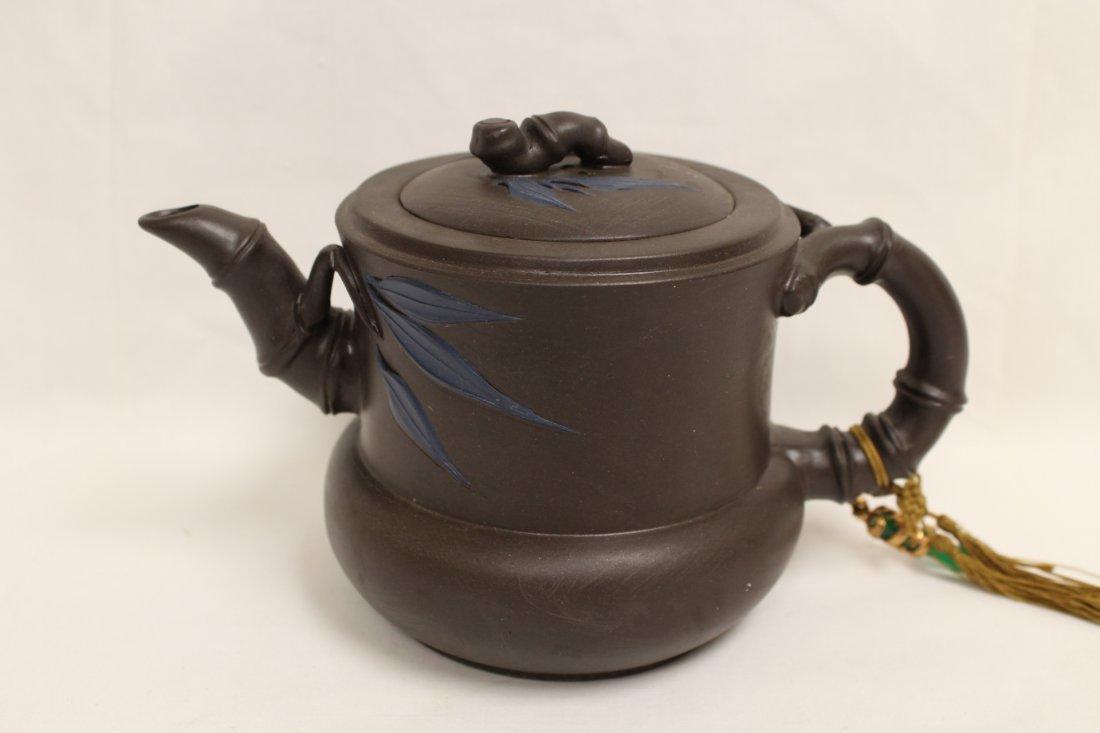 2 Chinese Yixing teapot and a Yixing tea caddy - 8