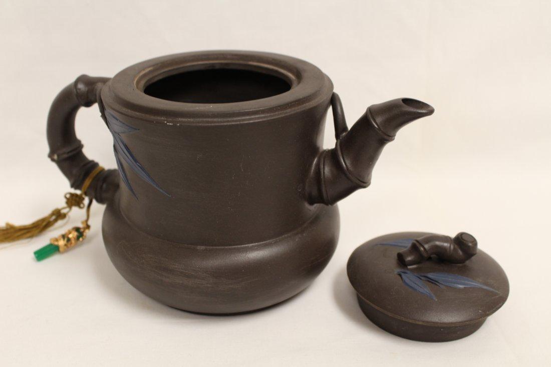 2 Chinese Yixing teapot and a Yixing tea caddy - 9