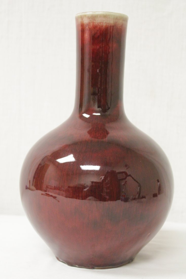 Chinese copper red porcelain bottle vase - 3