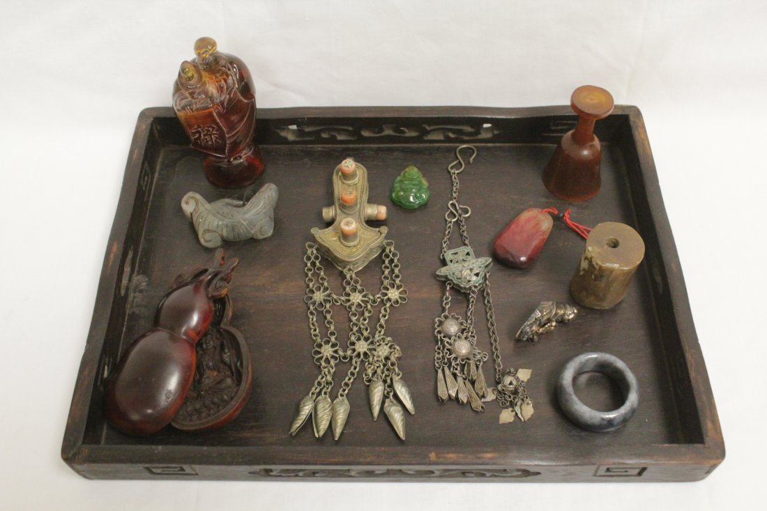 Wood tray with misc. items