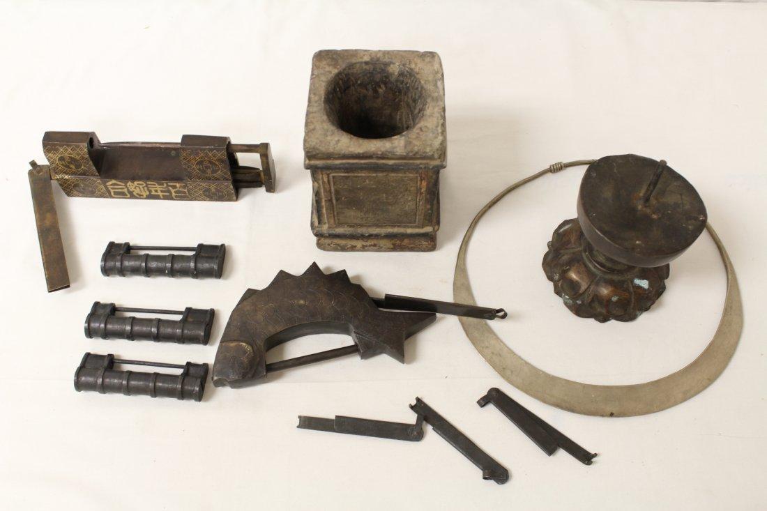 5 locks, bronze candle holder, stone carving