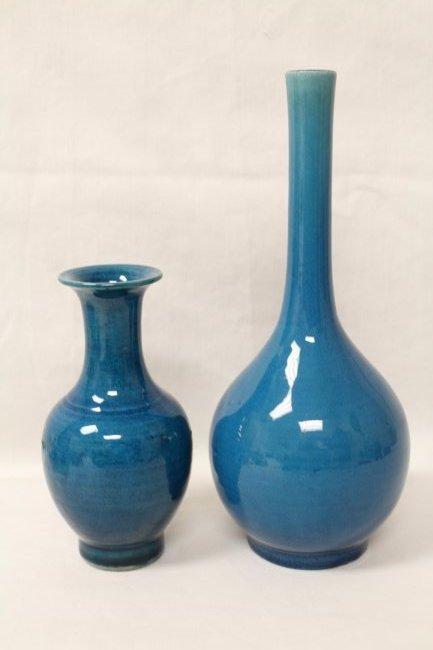 2 Chinese vintage turquoise glazed vases