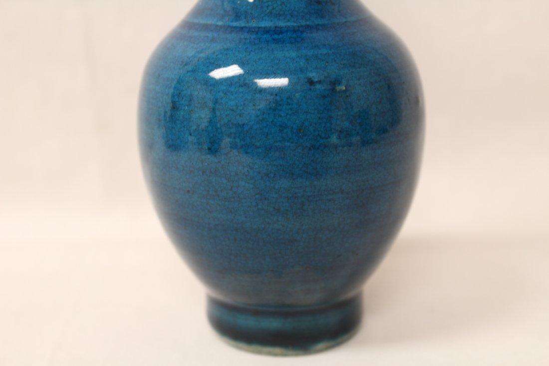 2 Chinese vintage turquoise glazed vases - 8