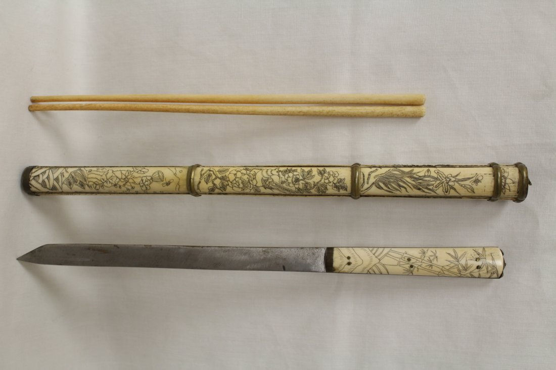 2 Chinese bone carved chopsticks & knife set - 3
