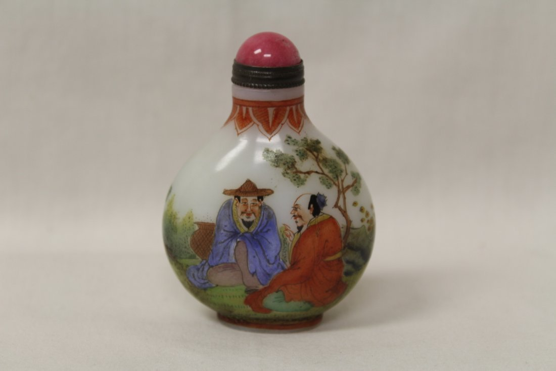 Chinese enamel on milk glass snuff bottle