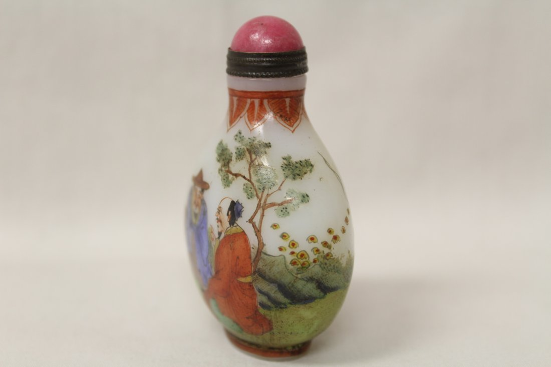 Chinese enamel on milk glass snuff bottle - 4