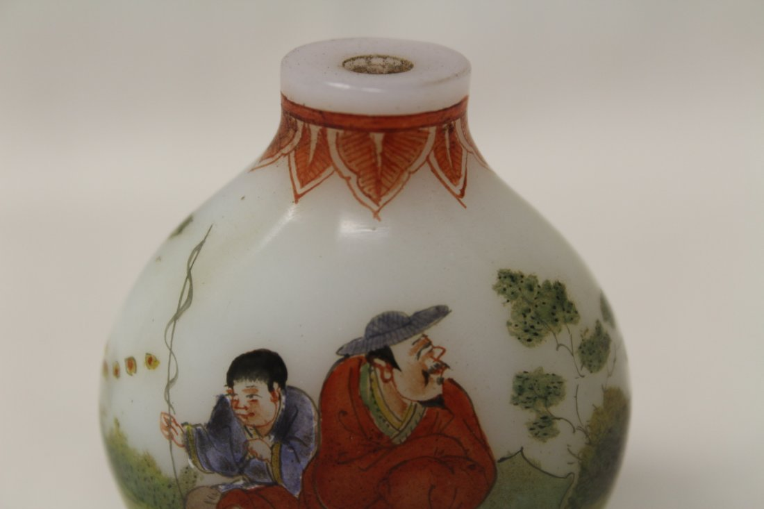 Chinese enamel on milk glass snuff bottle - 7