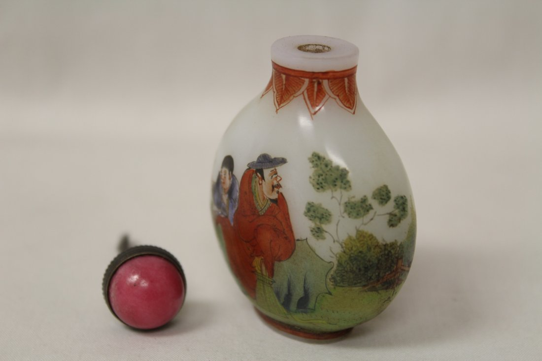 Chinese enamel on milk glass snuff bottle - 8