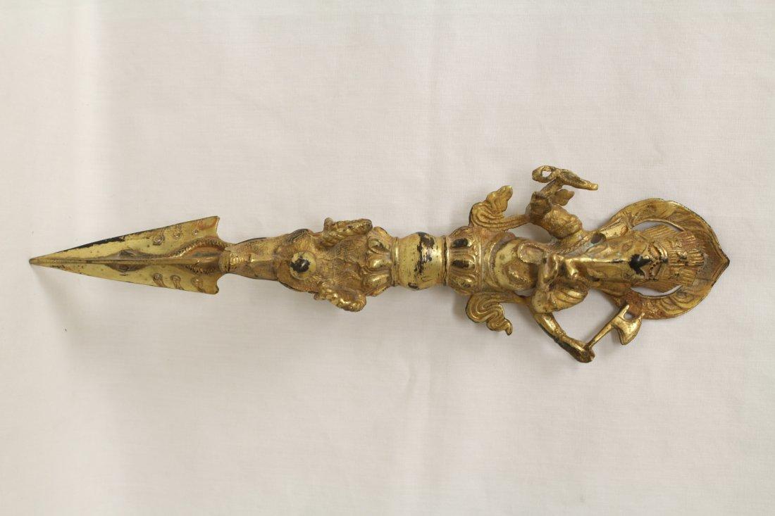 Tibetan gilt bronze scepter