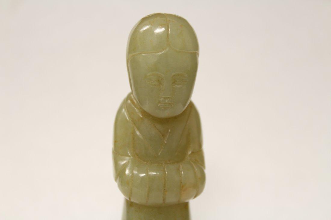 celadon jade carved attendant - 5