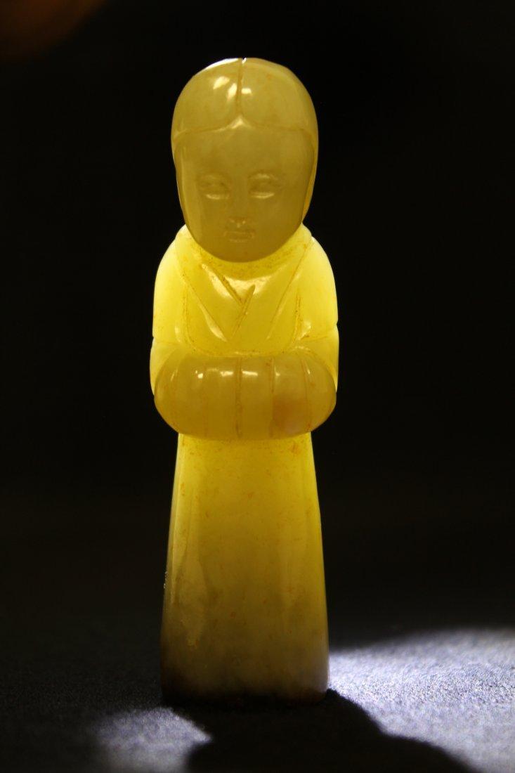 celadon jade carved attendant - 9