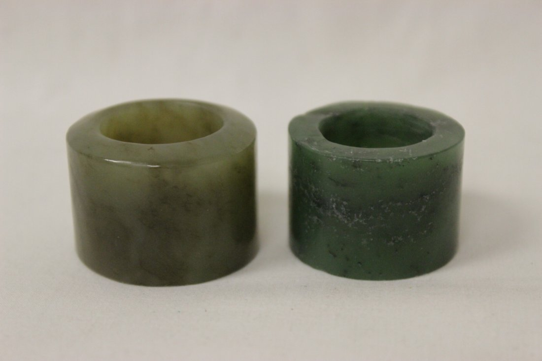 2 jade like stone archer's rings