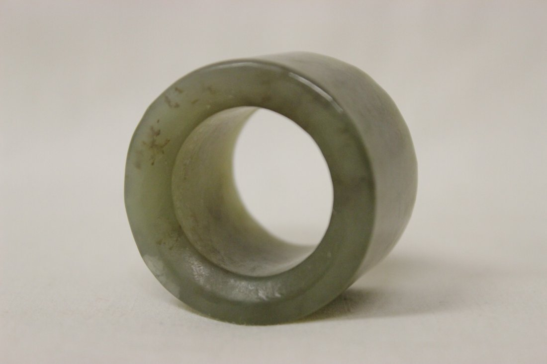 2 jade like stone archer's rings - 4