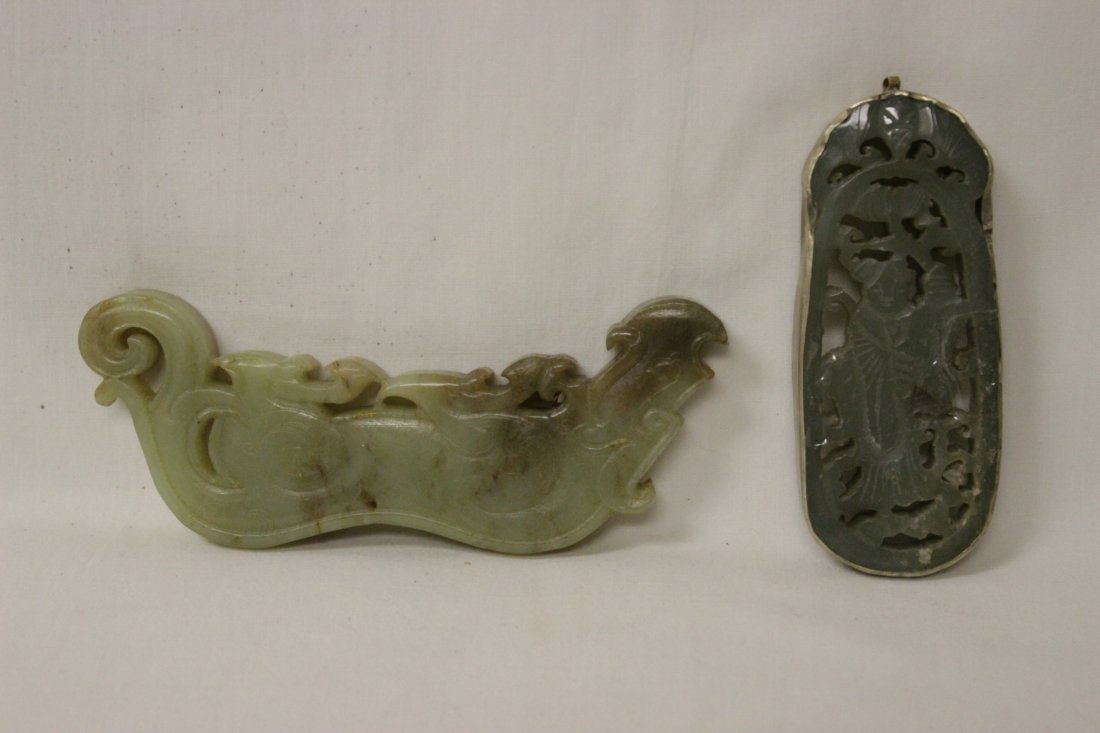 2 celadon jade ornaments