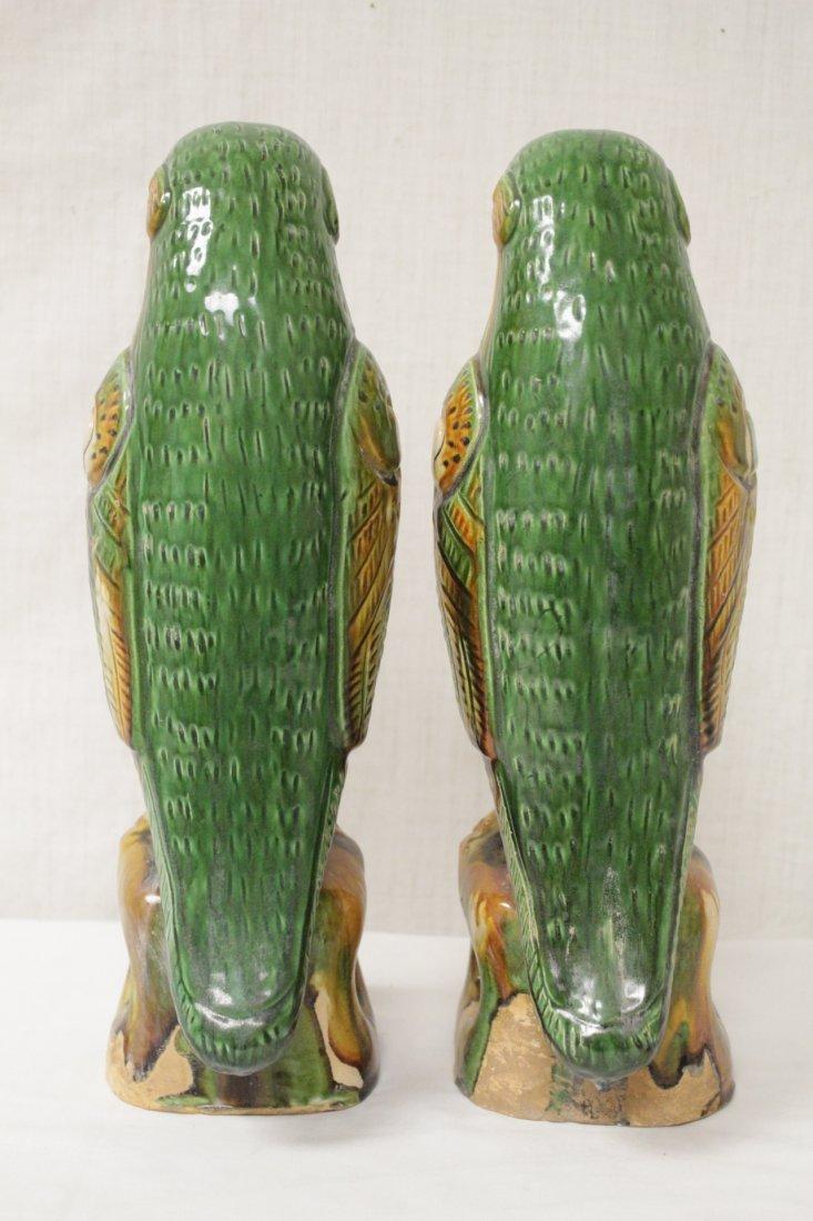 Pair Chinese sancai parrots - 4