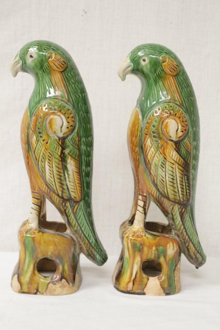 Pair Chinese sancai parrots - 5