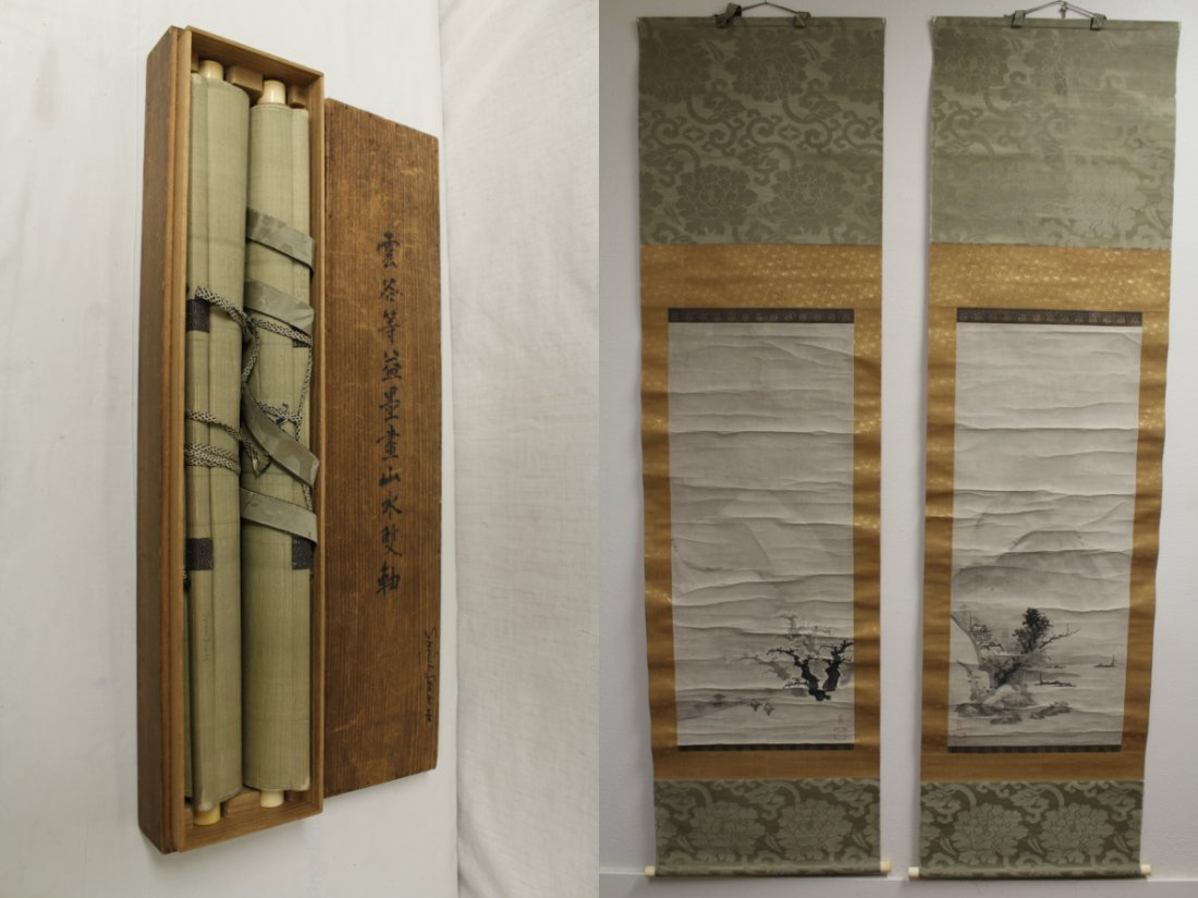 2 Japanese watercolor scrolls in wood box