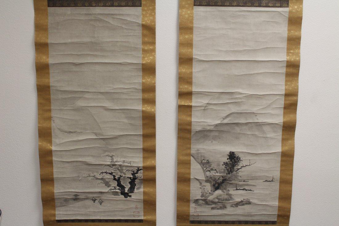 2 Japanese watercolor scrolls in wood box - 2