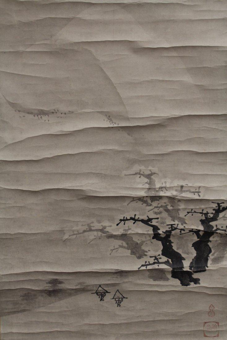 2 Japanese watercolor scrolls in wood box - 3
