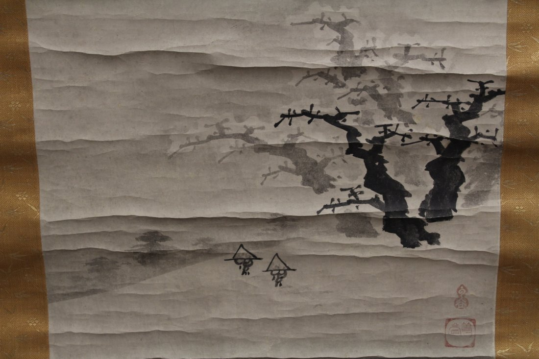 2 Japanese watercolor scrolls in wood box - 4