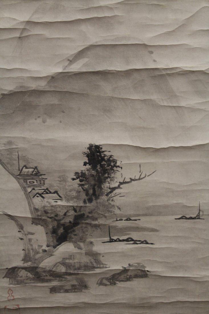 2 Japanese watercolor scrolls in wood box - 7