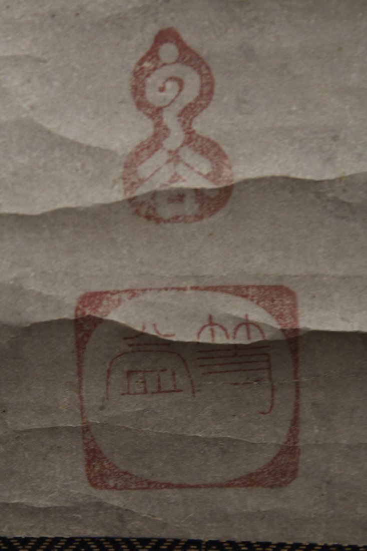 2 Japanese watercolor scrolls in wood box - 9