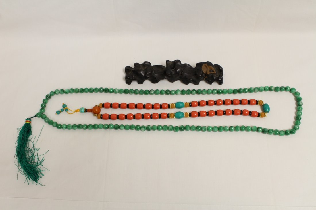 Possible zitan wood brush mountain & 2 bead necklaces